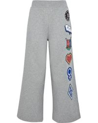 Opening Ceremony - Sorority Cropped Appliquéd Cotton-jersey Track Pants - Lyst