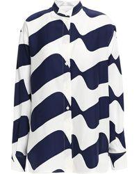 Victoria Beckham Printed Silk-cady Blouse Navy - Blue
