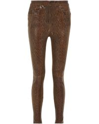 Balmain - Snake-effect Leather Skinny Pants - Lyst