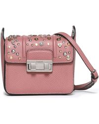 Lanvin - Jiji Studded Textured-leather Shoulder Bag Antique Rose - Lyst