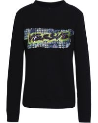 e2bd700dcb Versus - Woman Sequin-embellished French Cotton-terry Sweatshirt Black -  Lyst