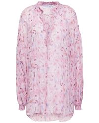IRO Sevrin Lace-up Printed Georgette Blouse Baby Pink