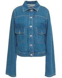 Lanvin Leather-trimmed Denim Jacket Light Denim - Blue