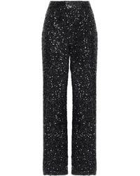 Victoria, Victoria Beckham Sequined Crepe De Chine Wide-leg Trousers Black