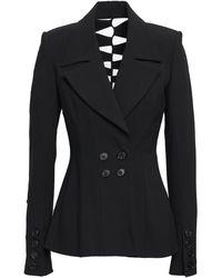Kitx Double-breasted Cutout Woven Blazer Black
