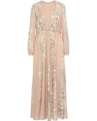 Valentino Pleated Printed Wool-crepe Gown Blush - Pink