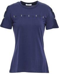 Mugler Cutout Embellished Cotton-jersey T-shirt Navy - Blue