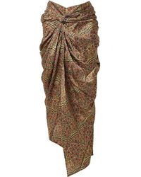 Khaite Louie Draped Floral-print Twill Midi Skirt - Metallic