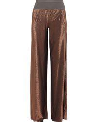 Rick Owens Lilies Metallic Stretch-knit Wide-leg Pants - Brown