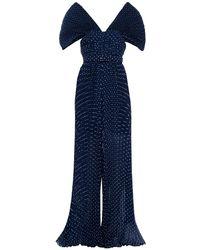 Self-Portrait Drapierter jumpsuit aus chiffon mit falten und eingewebten punkten - Blau