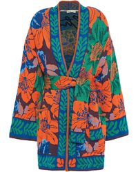 Etro Wickel-cardigan aus strick mit intarsienmuster und satinbesatz - Orange