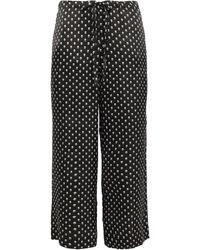 Commando Printed Silk-satin Pyjama Trousers Black