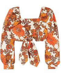 Dodo Bar Or Biby Cropped Tie-front Floral-print Cotton Top - Orange