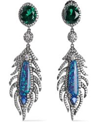 CZ by Kenneth Jay Lane - Woman Oxidized Silver-tone, Crystal And Stone Earrings Silver - Lyst