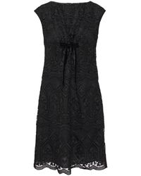 Anna Sui Bow-embellished Macramé Lace Mini Dress Black