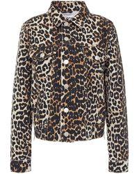 Ganni Jeansjacke mit leopardenprint und reißverschlussdetails - Mehrfarbig