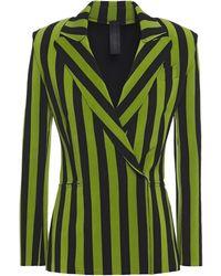 Norma Kamali - Double-breasted Striped Jersey Blazer - Lyst
