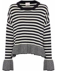 Cinq À Sept - Seren Fluted Striped Wool-blend Sweater - Lyst