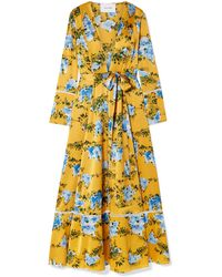 We Are Leone Crochet-trimmed Floral-print Silk-blend Satin Robe Marigold - Yellow