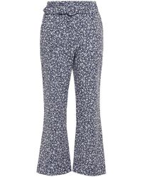 Jonathan Simkhai Florence Belted Floral-print Stretch-crepe Kick-flare Trousers - Blue