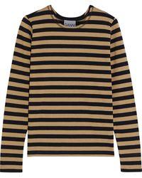 Ganni Striped Cotton-jersey Top Light Brown
