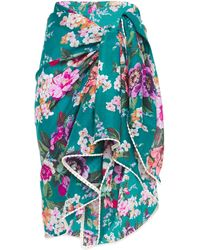 Zimmermann Floral-print Cotton-voile Pareo Emerald - Green