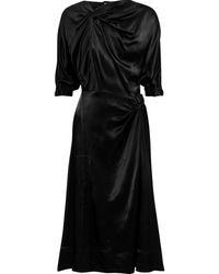 3.1 Phillip Lim Twist-front Satin Midi Dress Black