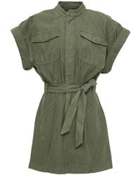 FRAME Twisted Belted Cotton-canvas Mini Dress Army Green