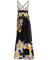 Etro Open-back Floral-print Silk-crepe Maxi Dress - Black