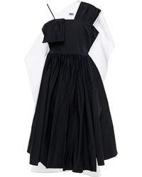 MM6 by Maison Martin Margiela Draped Gathered Taffeta And Cotton Midi Dress - Black