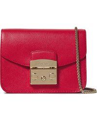 Furla Metropolis Textured-leather Shoulder Bag Crimson