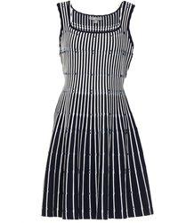 Lela Rose Striped Jacquard-knit Mini Dress - Blue