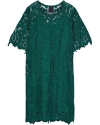 Anna Sui - Velvet-trimmed Guipure Lace Dress Forest Green - Lyst