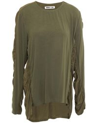 McQ Panelled Ruched Crepon And Jersey Top - Green