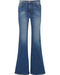 Current/Elliott The Girl Crush Faded Mid-rise Flared Jeans - Blue