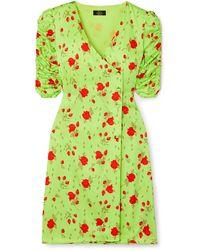 De La Vali Minnesota Floral-print Satin Wrap Dress Lime Green