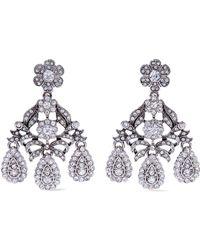 Kenneth Jay Lane - Silver-tone Crystal Clip Earrings - Lyst