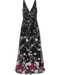 Marchesa notte Floral-appliquéd Embroidered Tulle Gown - Black