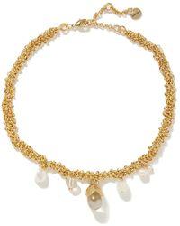 Anita Berisha Droplet -plated, Pearl And Crystal Necklace - Metallic