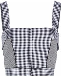 Nicholas - Cropped Panelled Gingham Cotton-poplin Top - Lyst