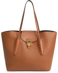 Michael Kors Bancroft Smooth And Pebbled-leather Tote Camel - Brown