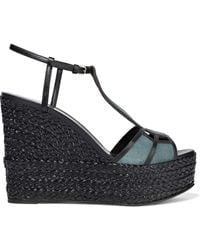 Sergio Rossi Easy Puzzle Cutout Leather And Suede Wedge Sandals Midnight Blue