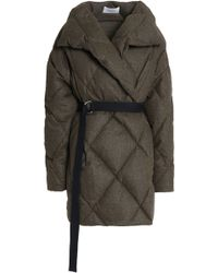 Pringle of Scotland Quilted Brushed Wool-blend Down Coat Army Green