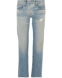 Current/Elliott - The Crossover Distressed Mid-rise Straight-leg Jeans - Lyst