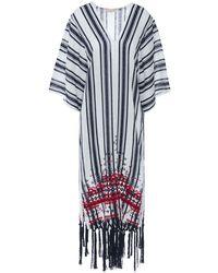 Tory Burch Awning Fringe-trimmed Embroidered Striped Linen-gauze Kaftan - Blau