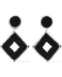 Kenneth Jay Lane - Beaded Silver-tone Earrings - Lyst