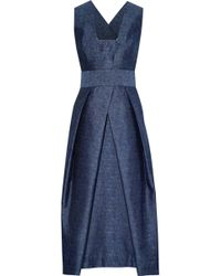 MILLY - Elisa Pleated Chambray Midi Dress - Lyst