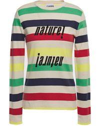 Ganni Nature! Striped Cotton-jersey Top - Multicolour