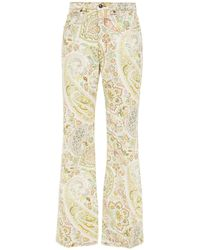 Etro Printed High-rise Flared Jeans - White