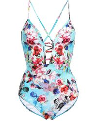 Jets by Jessika Allen - Flora Plunge Cutout Floral-print Swimsuit Sky Blue - Lyst